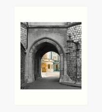 Castle arch leading to royal home Art Print