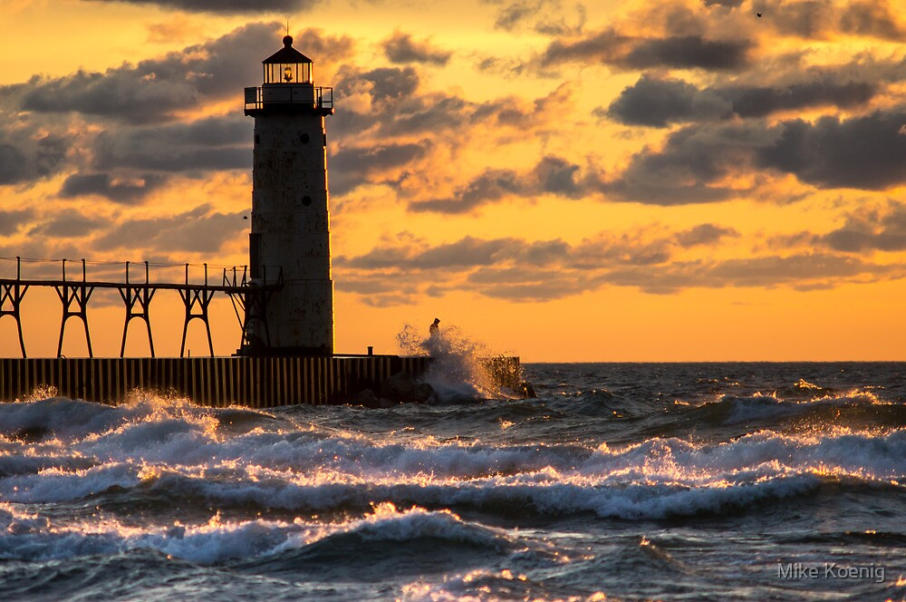 Manistee Lighthouse Stormy Sunset by Mike Koenig
