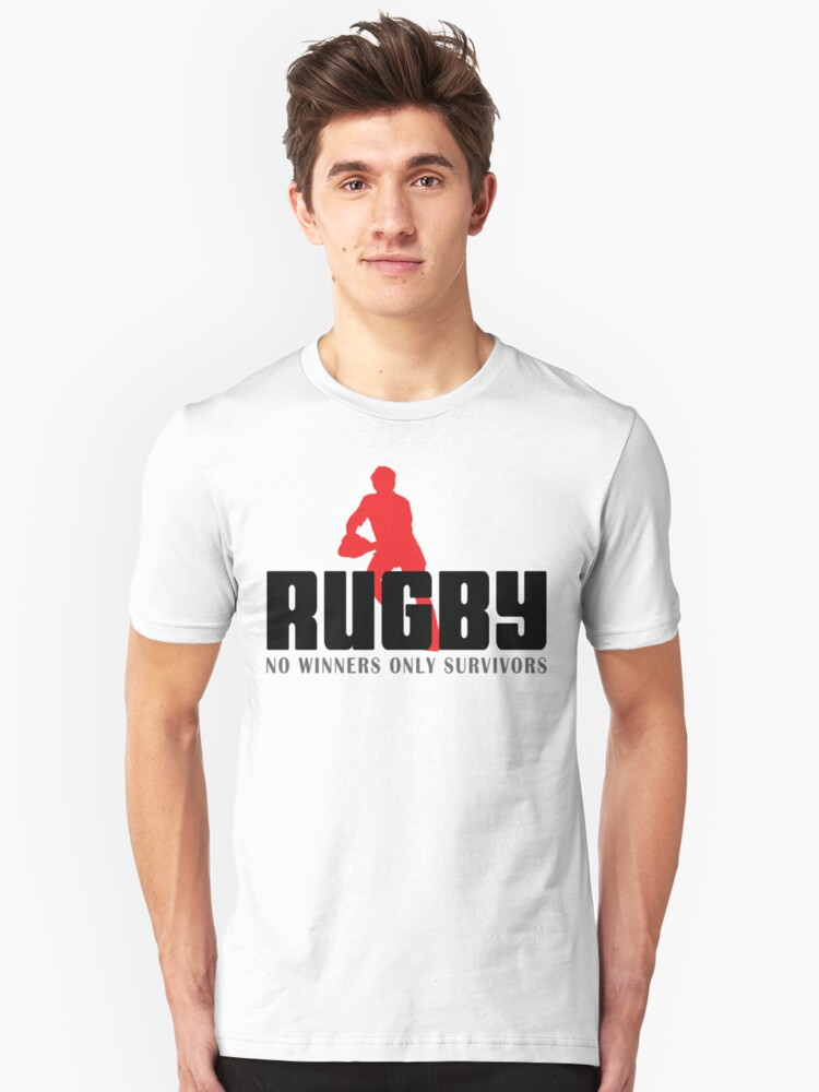"""Rugby """"No Winners Only Suvivors"""" Unisex T-Shirt Front"""