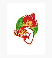 mexican chef serving taco burrito empanada retro Photographic Print