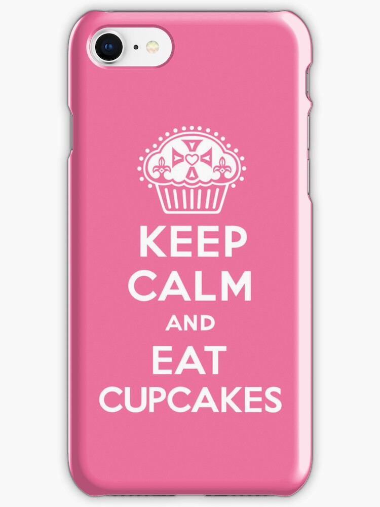 Keep Calm and Eat Cupcakes  pink 3G  4G  4s iPhone case  by Andi Bird