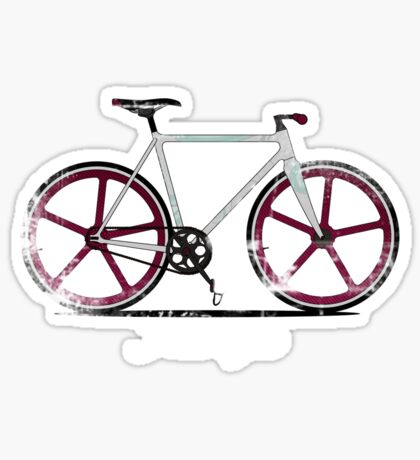 Fixed Gear White Bicycle Sticker