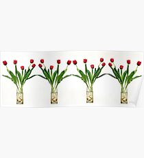 4 vases of tulips  Poster