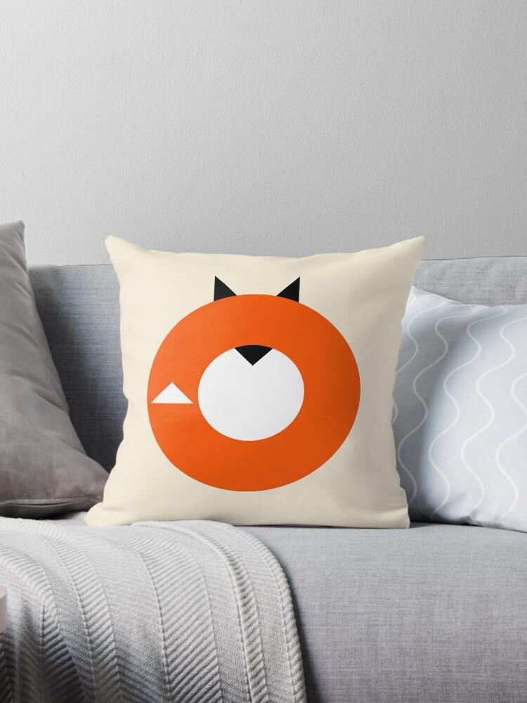 """A Most Minimalist Fox"" Throw Pillows By Nicholas Ely"