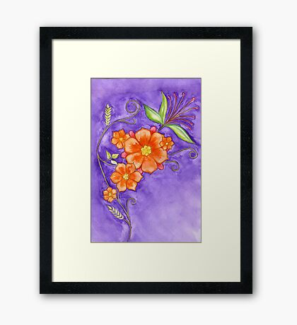 Hand drawn pencil & watercolour flowers in orange and purple Framed Print
