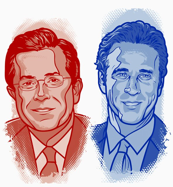 Jon Stewart and Stephen Colbert by Cloxboy