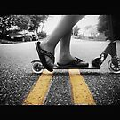 Black and White Scooter photograph with Yellow Streak by Thea Gold