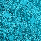 Turquoise-Blue Leather Look Embossed Floral Design by artonwear