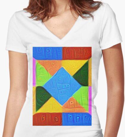 DeepDream Color Squares Visual Areas 5x5K v1447926834 Fitted V-Neck T-Shirt