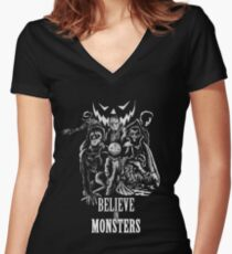 Believe In Monsters Women's Fitted V-Neck T-Shirt