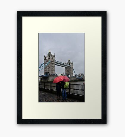 Umbrella admiration - Tower Bridge - London - Britain Framed Print