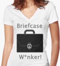 Briefcase W*nker Women's Fitted V-Neck T-Shirt