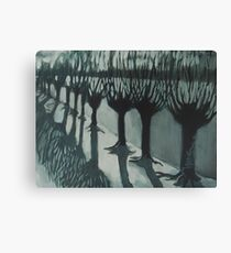 Leaving Falls - Willow Trees Painting Canvas Print