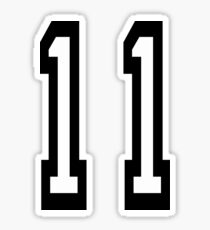 11, TEAM SPORTS, NUMBER 11, Eleven, Eleventh, Competition Sticker