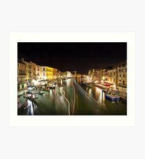 Venice Light Trails Art Print
