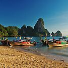 Long Tail Boats, Ton Sai Beach, Thailand by timstathers