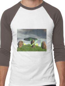 UFO and Ancient Stone Circle Men's Baseball ¾ T-Shirt