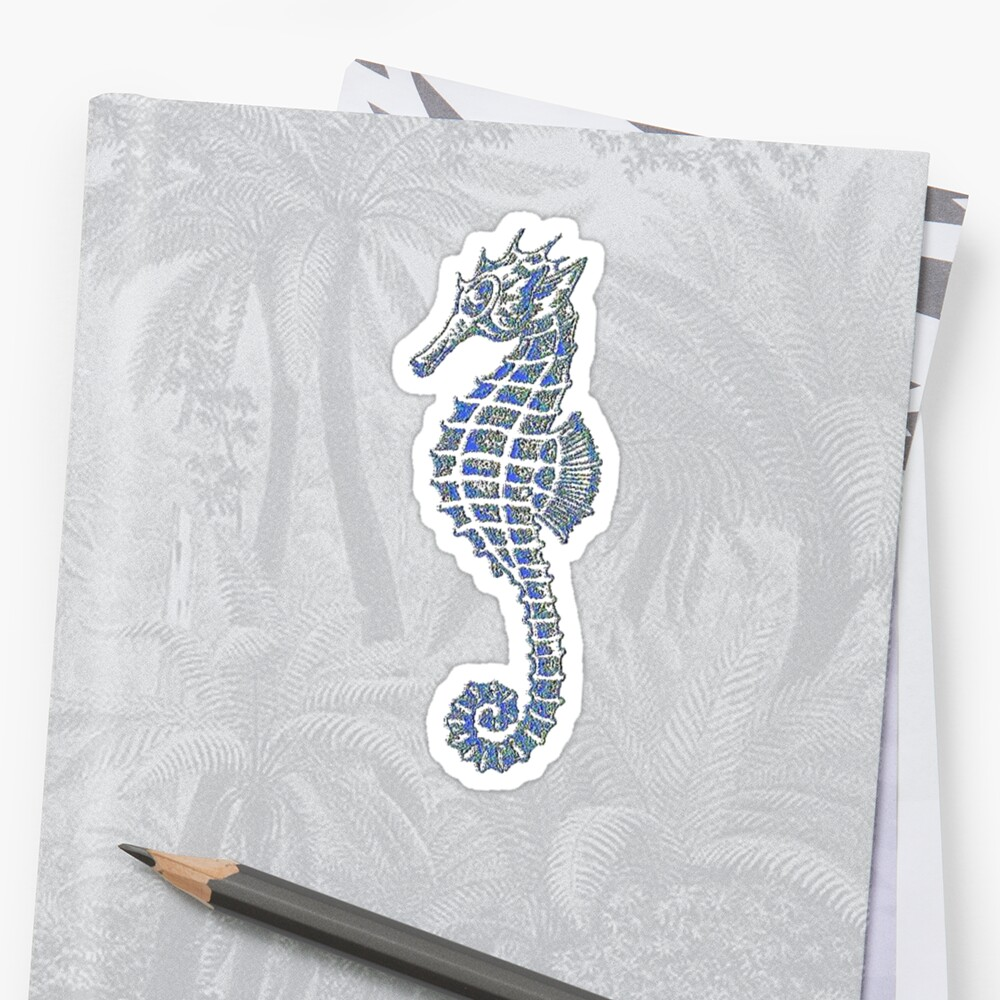 Cute Seahorse Tattoo In Blue and Gray by taiche