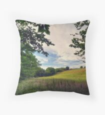 Framed View Across the Fields from Groudle Glen Throw Pillow