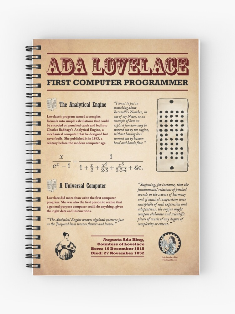 Ada Lovelace: First Computer Programmer | Spiral Notebook