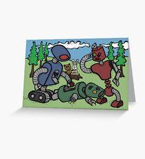 Teddy Bear And Bunny - Cannibals Greeting Card