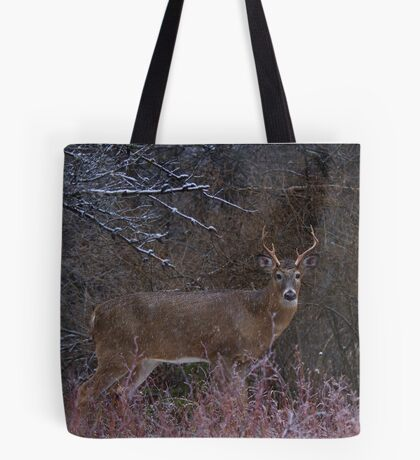 Snowy Buck - White-tailed deer Tote Bag