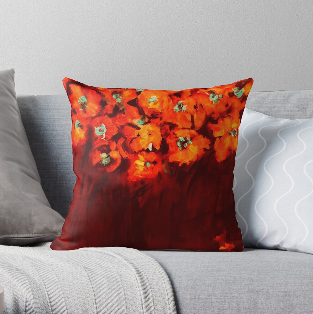 Habibiflo orange Throw Pillow
