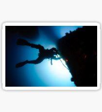 underwater Commercial diver welding pipes underwater. Sticker