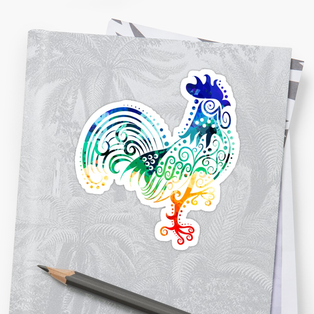 Inked Rooster Sticker