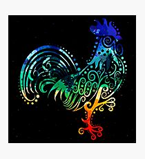Inked Rooster Photographic Print
