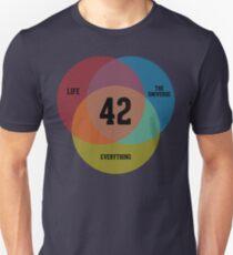 Camiseta ajustada Diagrama de Venn: la vida, el universo y todo