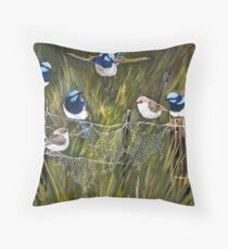 Blue wrens in the australian bush Throw Pillow