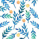 Blue Watercolor Branches & Berrries by pizzazzdesign