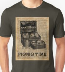 Picnic Time Vintage Illustration Dictionary Book Page Art T-Shirt
