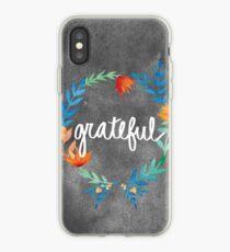 Dankbar, Aquarell Blumenkranz iPhone-Hülle & Cover
