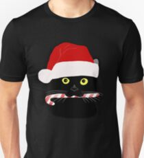 Christmas Cat Closeup Slim Fit T-Shirt