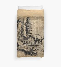Dinosaurs in Forest Vintage Dictionary Art Illustration Duvet Cover