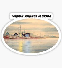 Sponge Docks At Tarpon Springs Florida Sticker