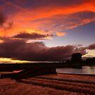 Late September Evening Tones and Light, Broken Scar Weir, River Tees by Ian Alex Blease