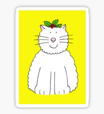 Fluffy white cat with holly on her head. Sticker