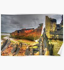 Wrecks at Fleetwood Marsh Poster