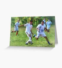 Kicking Soccer Ball Greeting Card