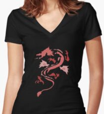 Fire Breathing Dragon - pink Women's Fitted V-Neck T-Shirt