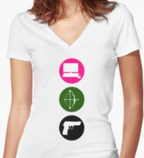 Team Arrow - Colorful Symbols - Weapons Women's Fitted V-Neck T-Shirt