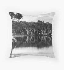 Lake Ainsworth, early morning, No 4 monochrome Throw Pillow