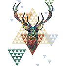 Modern colorful geometric christmas deer illustration by artonwear