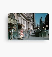 Pedestrians at end of Post Office next to Tin Shed Elizabeth street 19610200 0010 Canvas Print