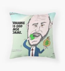 Chef du US Fed Ben BERNANKE en caricature Throw Pillow