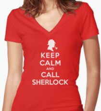 Keep Calm And Call Sherlock Holmes Women's Fitted V-Neck T-Shirt
