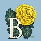 B is for Begonia Flower Monogram Floating by Stephanie Smith